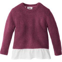 Sweter dzianinowy z falbaną bonprix jeżynowy melanż - biały. Swetry dla dziewczynek bonprix, z dzianiny, z okrągłym kołnierzem. Za 27.99 zł.