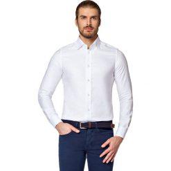 Koszula Biała Bella. Białe koszule męskie LANCERTO, w kwiaty, z bawełny, z kontrastowym kołnierzykiem. Za 299.90 zł.