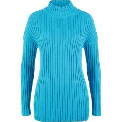 Sweter bawełniany ze stójką bonprix turkusowy. Niebieskie swetry damskie bonprix, z bawełny, ze stójką. Za 64.99 zł.