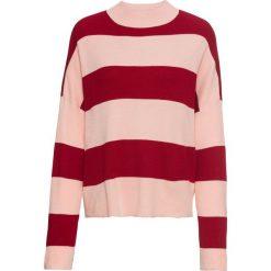 Sweter dzianinowy bonprix ciemnoczerwono-jasnoróżowy w paski. Swetry damskie marki KALENJI. Za 79.99 zł.