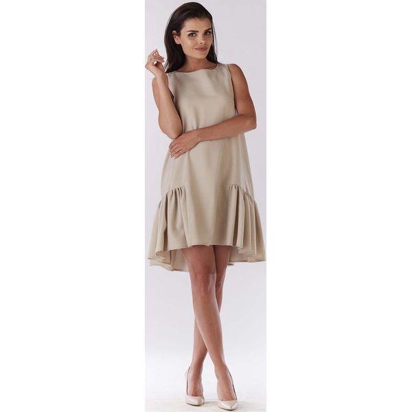 8176f1a6ae Beżowa Sukienka Wizytowa z Falbanką na Dole - Sukienki damskie marki ...