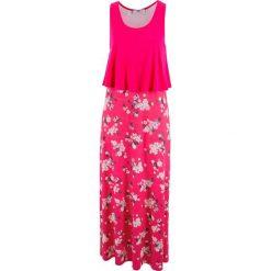 Sukienka shirtowa warstwowa bonprix różowy hibiskus z nadrukiem. Czerwone sukienki damskie bonprix, z nadrukiem. Za 129.99 zł.