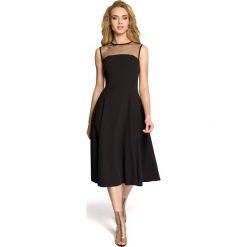 Rozkloszowana sukienka  moe271. Czarne sukienki damskie MOE, z tiulu, eleganckie, z klasycznym kołnierzykiem, bez rękawów. Za 149.90 zł.