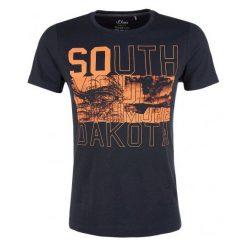 S.Oliver T-Shirt Męski M Ciemnoniebieski. Czarne t-shirty męskie S.Oliver, z nadrukiem. Za 49.90 zł.