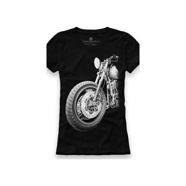 Koszulka damska V neck Retro Motor mybaze com bialy