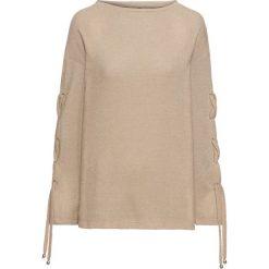 Sweter ze sznurowaniem na rękawach bonprix latte macchiato. Swetry damskie marki bonprix. Za 49.99 zł.