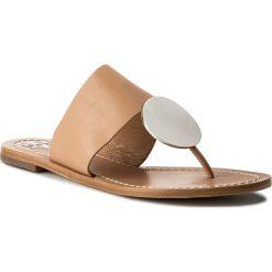 Japonki TORY BURCH - Patos Disk Sandal 46914 Natural Vachetta/Silver 261. Brązowe klapki damskie Tory Burch, z materiału. W wyprzedaży za 599.00 zł.