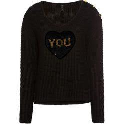 Sweter z cekinami bonprix czarno-złoty. Swetry damskie marki KALENJI. Za 99.99 zł.