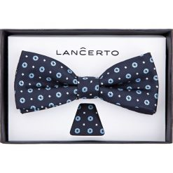 Mucha granatowa wzór geometryczny. Szare krawaty i muchy LANCERTO, w geometryczne wzory, z dzianiny, eleganckie. Za 79.90 zł.