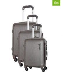 Zestaw walizek w kolorze szarym - 3 szt. Walizki męskie Platinium, z materiału. W wyprzedaży za 579.95 zł.