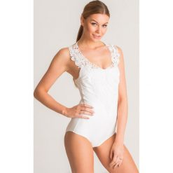 94fd440210839c Biały jednoczęściowy strój kąpielowy Twinset U&B z koronką. Białe kostiumy  jednoczęściowe damskie Twinset U&B,