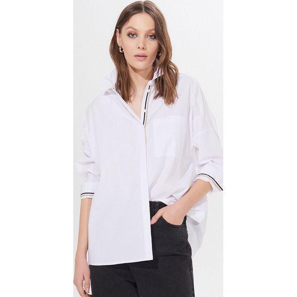Bawełniana koszula oversize Biały Białe koszule damskie
