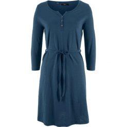 Sukienka bawełniana shirtowa, krótki rękaw bonprix ciemnoniebieski. Niebieskie sukienki damskie bonprix, z bawełny, z krótkim rękawem. Za 37.99 zł.