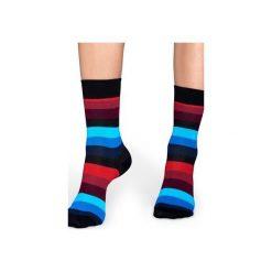 Skarpetki Happy Socks - Stripe (SA01-068). Szare skarpety męskie Happy Socks, w kolorowe wzory, z bawełny. Za 34.90 zł.