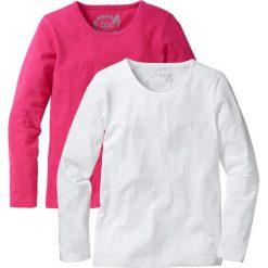 Koszulka z długim rękawem (2 szt.) bonprix ciemnoróżowy + biały. T-shirty i topy dla dziewczynek marki bonprix. Za 39.98 zł.