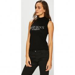 Guess Jeans - Top Ela. Czarne topy damskie Guess Jeans, z aplikacjami, z dzianiny, bez rękawów. Za 279.90 zł.