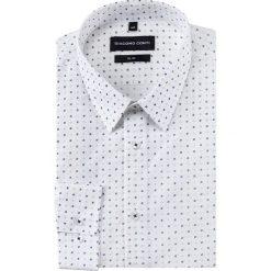 Koszula SIMONE slim KDBS000245. Białe koszule męskie Giacomo Conti, w geometryczne wzory, z bawełny, z klasycznym kołnierzykiem. Za 169.00 zł.
