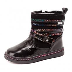 Skórzane kozaki w kolorze czarnym. Czarne buty zimowe dziewczęce Bartek, w paski. W wyprzedaży za 149.95 zł.