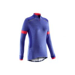 Koszulka długi rękaw na rower szosowy 500 damska. Niebieskie t-shirty damskie B'TWIN. Za 89.99 zł.