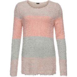 Sweter z przędzy z długim włosem w paski bonprix szaro-dymny jasnoróżowy w paski. Swetry damskie marki bonprix. Za 89.99 zł.