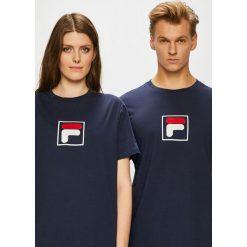 Fila - T-shirt. Czarne t-shirty damskie Fila, z aplikacjami, z bawełny, z okrągłym kołnierzem. W wyprzedaży za 119.90 zł.