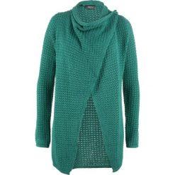 Sweter rozpinany w strukturalny wzór bonprix dymny szmaragdowy. Niebieskie kardigany damskie bonprix. Za 99.99 zł.