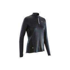 Koszulka do biegania długi rękaw RUN DRY+ damska. Czarne t-shirty damskie KALENJI, z elastanu. Za 49.99 zł.