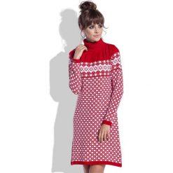 Czerwono Biała Sukienka Żakardowa w Skandynawskie Wzory. Sukienki damskie Molly.pl, na zimę, z żakardem, z golfem. Za 99.90 zł.