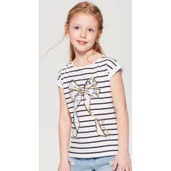 Koszulka z cekinową aplikacją dla dziewczynki little princess - Biały. T-shirty damskie marki bonprix. W wyprzedaży za 19.99 zł.