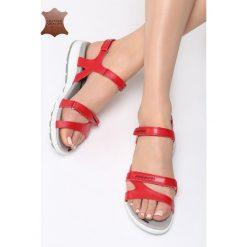 Czerwone Skórzane Sandały Drawn To Me. Czerwone sandały damskie Born2be, z materiału. Za 89.99 zł.