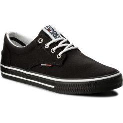 Tenisówki TOMMY JEANS - Textile Sneaker EM0EM00001 Black 990. Czarne trampki męskie Tommy Jeans, z gumy. W wyprzedaży za 249.00 zł.