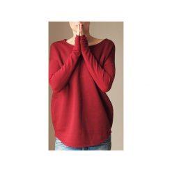 Wąski gruby rękaw bordowy bluza oversize. Czerwone bluzy damskie One mug a day, z bawełny. Za 189.00 zł.