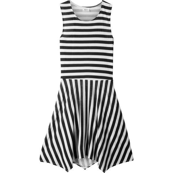 73b565f91e Sukienka z dłuższymi bokami bonprix czarno-biały z nadrukiem ...