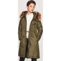 Płaszcz z kapturem - Khaki. Płaszcze damskie marki FOUGANZA. W wyprzedaży za 249.99 zł.
