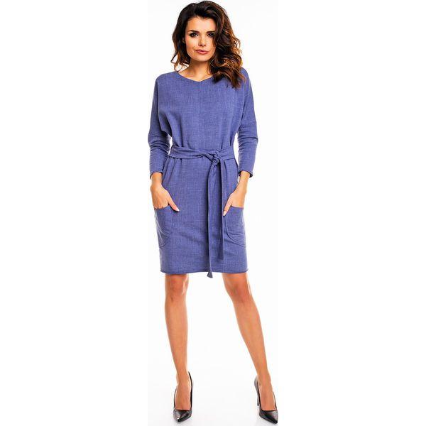 60320cf617 Granatowa Dzianinowa Sukienka do Pracy z Nakładanymi Kieszeniami ...