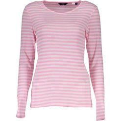 Koszulka w kolorze jasnoróżowo-białym. T-shirty damskie GANT, w paski, z okrągłym kołnierzem, z długim rękawem. W wyprzedaży za 119.95 zł.