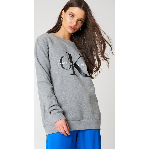 4959cffb03530 Calvin Klein Bluza Crew Neck True Icon - Grey - Bluzy damskie marki ...