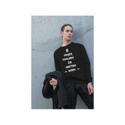 Czarna męska bluza raglan jestem boski. Czarne bluzy męskie One mug a day, z nadrukiem, z bawełny. Za 129.00 zł.