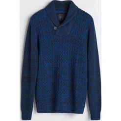 Gruby sweter z kołnierzem - Granatowy. Swetry przez głowę męskie marki Giacomo Conti. W wyprzedaży za 79.99 zł.