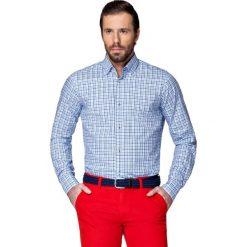 Koszula Niebieska w Kratę Coimbra. Niebieskie koszule męskie LANCERTO, z bawełny, z kontrastowym kołnierzykiem. W wyprzedaży za 149.90 zł.