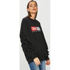Diesel - Bluza. Czarne bluzy damskie Diesel, z aplikacjami, z bawełny. Za 679.90 zł.