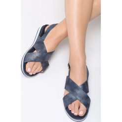 Granatowe Sandały Mellowness. Niebieskie sandały damskie Born2be, z materiału. Za 54.99 zł.