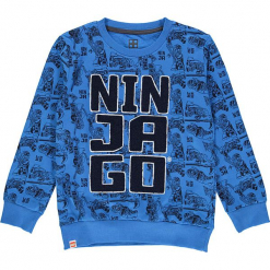 Bluza w kolorze niebiesko-czarnym. Niebieskie bluzy dla chłopców marki Lego Wear Fashion, z aplikacjami, z bawełny. W wyprzedaży za 42.95 zł.