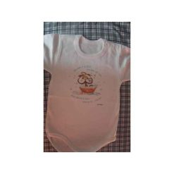 Body Małpa w kąpieli. Białe body niemowlęce Rymowanki, z nadrukiem, z bawełny. Za 32.00 zł.
