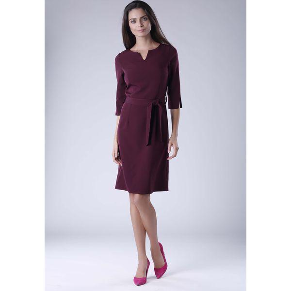 63fa831330 Brązowa Sukienka Wiązana w Pasie z Rękawem 3 4 - Brązowe sukienki ...