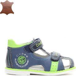 Niebieskie Skórzane Sandałki Oasis. Niebieskie sandały chłopięce Born2be, z materiału. Za 39.99 zł.