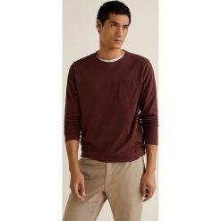 Mango Man - Longsleeve Gareth3. Brązowe bluzki z długim rękawem męskie Mango Man, z bawełny, z okrągłym kołnierzem. Za 69.90 zł.