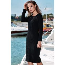 Ołówkowa sukienka sweterkowa ls224. Czarne sukienki damskie Lemoniade, ze splotem, eleganckie, z klasycznym kołnierzykiem, z długim rękawem. Za 139.00 zł.