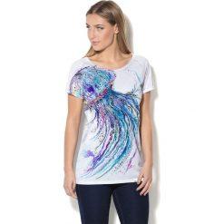 Colour Pleasure Koszulka CP-034  59 biało-fioletowo-niebieska  r. XXXL-XXXXL. T-shirty damskie Colour Pleasure. Za 70.35 zł.