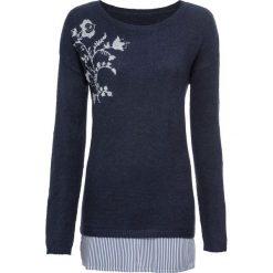 Sweter z haftem i koszulową wstawką bonprix ciemnoniebieski melanż. Swetry damskie marki bonprix. Za 109.99 zł.